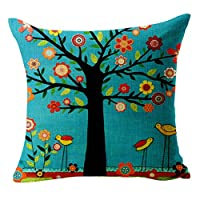 Canuven Oil Painting Tree Bird Flower Pillow Cover Linen Throw Cover Cushion Pillow Cases 18 x 18 Inch (Blue) by Generic