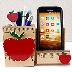 WOODEN CELL PHONE STAND/MEMO - PEN HOLDER, AA-R92 AP - w/APPLE & RULER DESIGN made in USA. For Back-to-School. Accessories are not included unless specified.