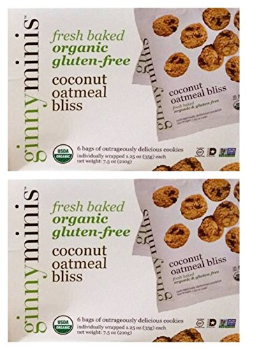 Ginnyminis Organic Gluten-Free Cookie Bites Coconut Oatmeal Bliss - Pack of 2, 7.5 Oz. Ea. (Ginny Bakes Cookies compare prices)
