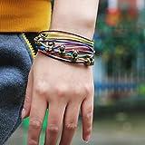 Winter's Secret Bronze Bear Pattern Hand Braided Diy Color Wax Rope Ancient Wrap Bracelet