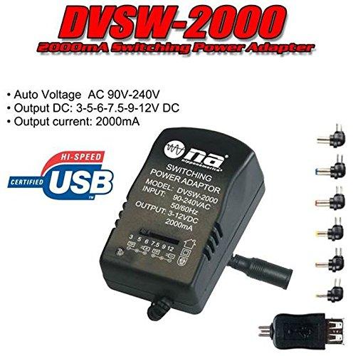 2000Ma Multi-Outlet Ac Dc Adapter 3V 4.5V 6V 7.5V 9V 12V