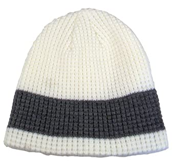 Simplicity 2 Eco Knitted Caps with Fleece Lining, Single Stripe, Ivory/Char