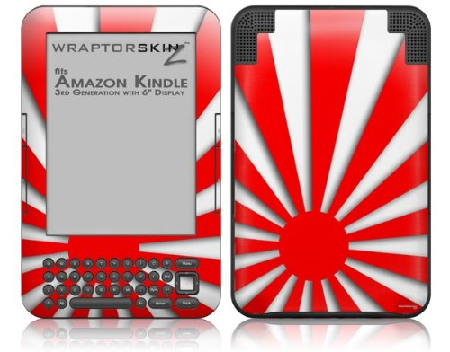 Skin for Amazon Kindle 3 (with 6 inch display) - Rising Sun Japanese Flag Red by WraptorSkinz