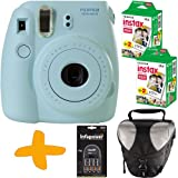 Fuji Instax Mini 8 macchina fotografica istantanea Blu+ caso + 40 foto + Infapower NiMh Batterie & Caricabatterie (Prendere immediati foto formato carta di credito catturare il momento e condividere il divertimento).