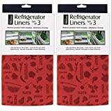 DII Kitchen Millennium Washable, Non Adhesive Refrigerator Bins and Shelf Liners - Includes 6 Fit to Cut Liners -Tango Red