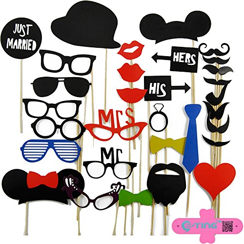 E-ting 31pcs DIY Photo Booth Props Mustache Lip Glasses on a Stick Wedding B-day Party - 1