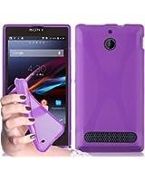 Cadorabo ! Etui Housse Gel (silicone) en design X pour Sony Xperia E1 en lilas