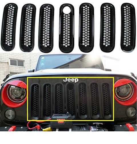 Sunluway® Black Front Grill Mesh Grille Insert with Key hole Fit Mopar hood lock For Jeep Wrangler Jk Rubicon Sahara & Unlimited 2007-2015 7PC (Grill Cover Insert compare prices)