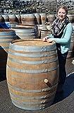 Fass-mit-500-Liter-Holzfass-Weinfass-aus-Eichenholz-geschlossen-als-Stehtisch