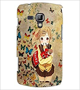 PrintDhaba Girl with Butterflies D-1099 Back Case Cover for SAMSUNG GALAXY S DUOS S7562 (Multi-Coloured)
