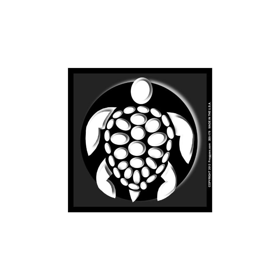 SEA TURTLE   WHITE/BLACK   STICK ON CAR DECAL SIZE 3 1/2 x 3 1/2   VINYL DECAL WINDOW STICKER   NOTEBOOK, LAPTOP, WALL, WINDOWS, ETC. COOL BUMPERSTICKER