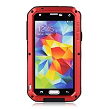 buy Galaxy S5 Case,3C-Aone Gorilla Glass Luxury Aluminum Alloy Protective Metal Extreme Shockproof Military Bumper Heavy Duty Cover Shell Case Skin Protector For Samsung Galaxy S5 (Red)