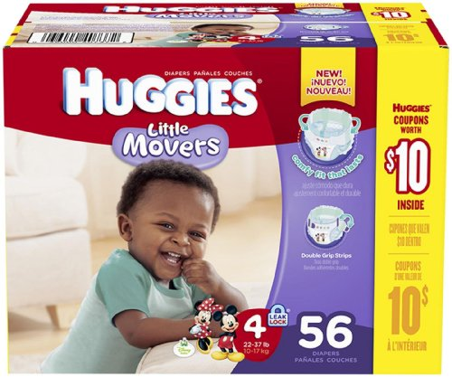 Huggies Little Movers Diapers - Size 4 - 56 ct