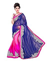 Texclusive Women's Georgette And Satin Saree With Blouse Piece
