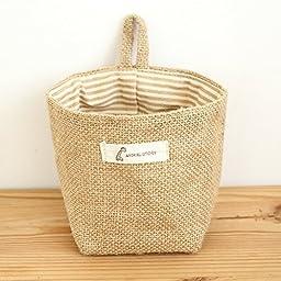 YEDAYS Essentials Mini Linen Cotton Storage Basket Woven Basket Collapsible Convenient Storage Bin for Door Keys Small Stuff (B2))