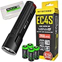 NITECORE EC4S 2150 Lumen high intensity CREE LED tactical die-cast flashlight with 4X EdisonBright CR123A Lithium Batteries and BBX3 carry case