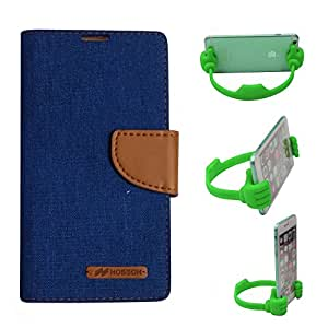 Aart Fancy Wallet Dairy Jeans Flip Case Cover for MicromaxA104 (Blue) + Flexible Portable Mount Cradle Thumb OK Designed Stand Holder By Aart Store.