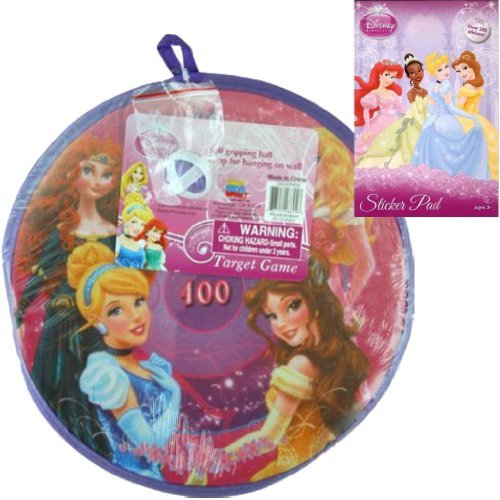 Disney Princess Velcro Dart Board Target Game Gift Set for Girls or Kids - 1 11 in Princess Velrco Dart Game with Ball Plus Princess Stickers - Best Stocking Stuffers and Holiday or Christmas Gifts for Kids - 1