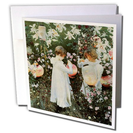 3dRose Little Girls in A Garden by John Singer Sargent - Greeting Cards, 6 x 6