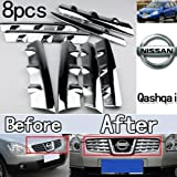 GOOACC® Front Grille Around Trim Chrome 8 pieces exterior for 2008 2009 Nissan Qashqai