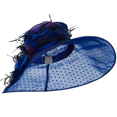 Polka Dot Designed Flower Detailed Organza Hat - Blue W27S45C