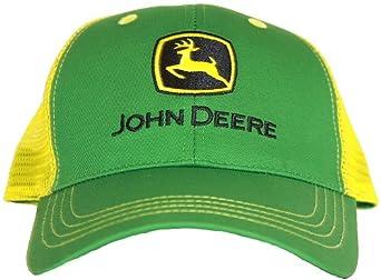 JOHN DEERE GREEN YELLOW TRUCKER HAT CAP MESH FARM ADJ