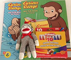 Curious George Big Fun to Color Coloring Book Set 2 with Crayons and Mini Sock Monkey Bundle Total 4 Items