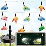 Set of 10 Butterfly Solar Powered String Lights - Automatically Turn On At Night To Decorate Your Garden Trees and Plants