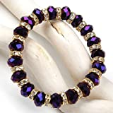 """1 STRETCHY FACETED PURPLE GOLD PLATED CRYSTAL GLASS SPACER BRACELET GIFT BANGLE 6"""" LONG"""