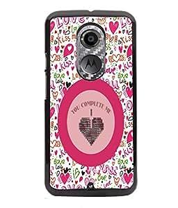 PRINTVISA You Complete me Love Premium Metallic Insert Back Case Cover for Motorola Moto X2 - D5829