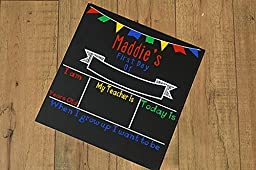 Personalized First Day of School Chalkboard Sign- Primary Colors