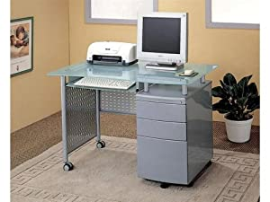 Modern Computer Desk Office Table Work Station w/File Cabinet