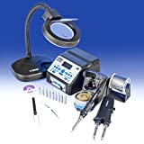 """USA EXCLUSIVE"" X-TRONIC 8020-XTS - ""2 IN 1"" Antistatic Digital Soldering Iron Station and Hot Tweezers - ESD Safe - C/F - 10 Soldering Tips - Brass Tip Cleaner & Flux - Extra Heating Element - IC Popper - 5X Magnifyng Lamp"