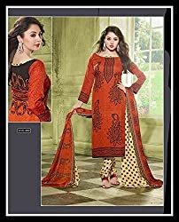 Exquisite & Beyond Womens Pure Cotton Printed Unstitched Salwar Suit _KT-01_Brick Red
