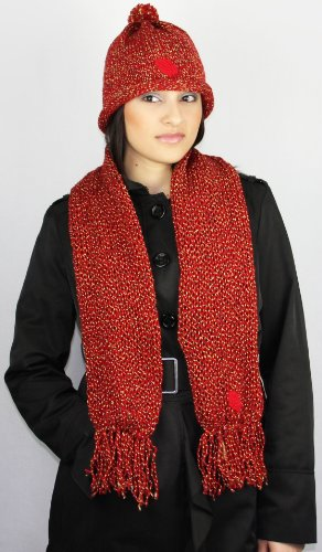 Handmade Soft Acrylic Scarf and Hat Set - Winter Fiesta in Red (One-of-a-kind)