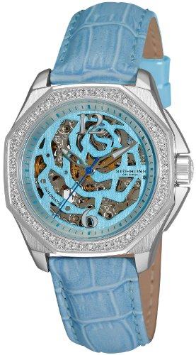Stuhrling Original Women's 231S.1115I39 Aquadiver Nemo Rose Automatic Skeleton Light Blue Leather Strap Watch