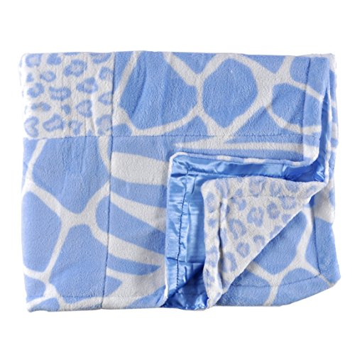 Tadpoles Animal Print Baby Blanket, Blue Patchwork