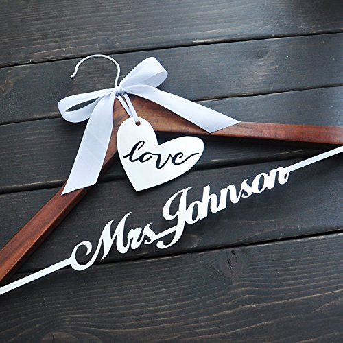 Custom Wedding Hanger, Personalized Bridal Hanger with Love, Wooden Wedding Hanger, Rustic Wedding Dress Hanger,Personalized Wedding Hanger