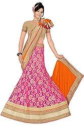 Pushty Fashion Pink and Orange Brasso Lehenga
