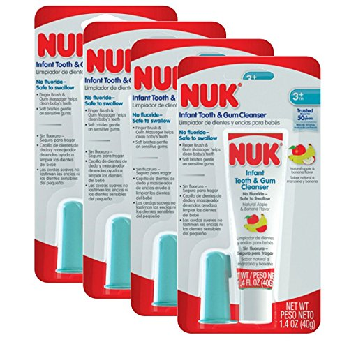 NUK Infant Tooth and Gum Cleanser and Finger Toothbrush Set, 1.4 Ounce - 4 Count - 1