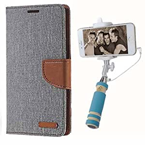 Aart Fancy Wallet Dairy Jeans Flip Case Cover for HTC826 (Grey) + Mini Fashionable Selfie Stick Compatible for all Mobiles Phones By Aart Store