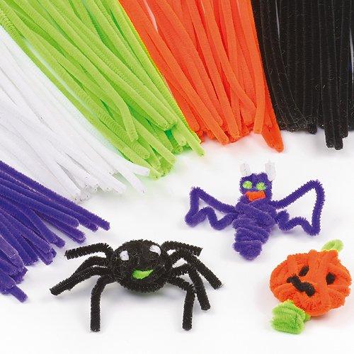 Scovolini di Halloween per bambini - Colori viola bianco verde arancione nero (confezione da 120)