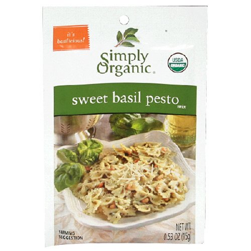 Simply Organic Sweet Basil Pesto Seasoning Mix Certified Organic 0 53 Ounce Packets Pack of 12