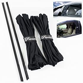 Side Window VIP Black Mesh Interlock Curtain UV Sunshade Visor 70cm Slidable X2