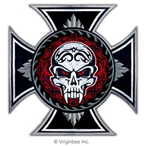 Amazon.com: HUGE IRON CROSS SAVAGE SKULL TATTOO BIKER JACKET RIDER