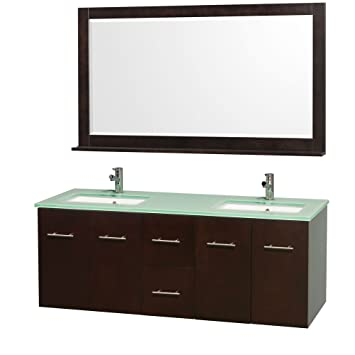 Wyndham Collection Centra 60 inch Double Bathroom Vanity in Espresso with Green Glass Top with Square Porcelain Undermount Sinks
