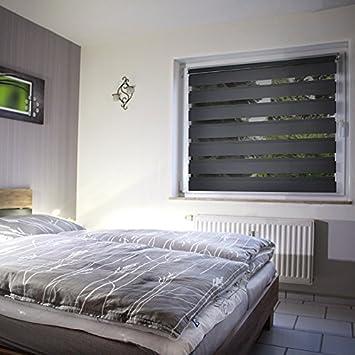 store enrouleur double double modernes klemmfix sans percage ni ni vis anthracite. Black Bedroom Furniture Sets. Home Design Ideas