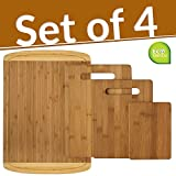 Bamboo 4 Piece Cutting Board Set with Juice Groove   Comes With 1 Extra Large Board And 3 Piece Cutting Board Set