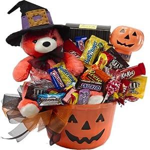 Art of Appreciation Gift Baskets Happy Halloween Jack O Lantern with Teddy Bear