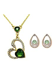 Beora 18k Gold Plated Green Crystal Pendant Necklace Set For Women - B00WR4AKHA